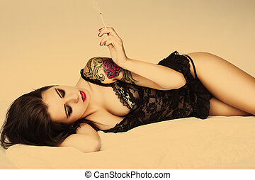 tattoo pin up girl with cigarette - attractive tattoo pin up...