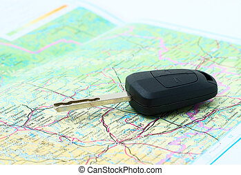 Map and key of the car.