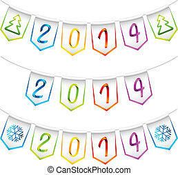 2014 isolated bunting flags
