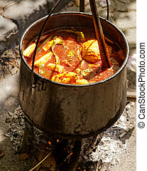 in stew pot cooked food - food cooking in stew pot in the...