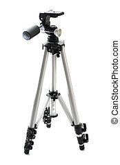 Tripod - professional photographic equipment. Isolated on...