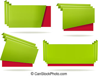 Huge set of colorful origami paper banners Vector...