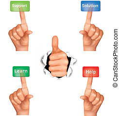 Set of hands pushing different buttons and thumb up. Vector.
