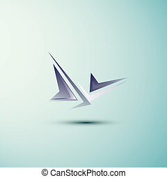 Abstract symbol - Abstract angle blue symbol with a shadow