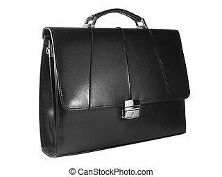 Suitcase - Black leather business suitcase isolated, on...