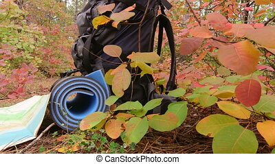 Dolly: Hiking - Backpack, map and a hot drink in the woods,...