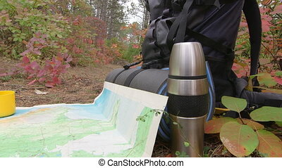 Dolly: Hiking - Searching way on the map in the woods