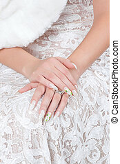 Hands of bride with manicure - Hands bride with a manicure,...