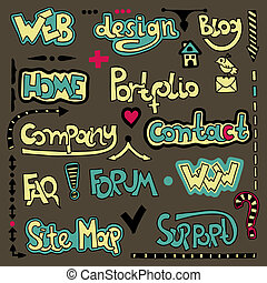 lettering web design element - Set of hand draw lettering...