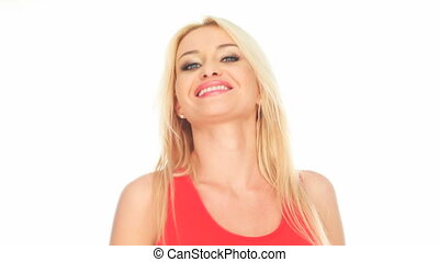 blonde woman in red top smiling