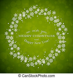 Green background with Christmas wreath made from snowflakes