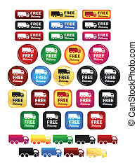 Free Delivery Truck Icons And Badge