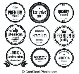 Nine Scalable Vintage Badges - Nine Scalable Badges in...