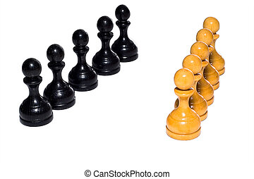 Chess figures bishops, concept of competition. Chess figures...