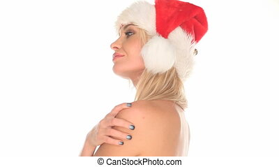 woman in santa hat - Half naked beautiful blond woman...