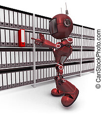 Android filing documents - 3D Render of an Android filing...