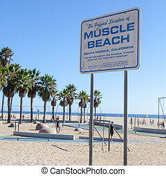 Muscle Beach - Famous landmark on Santa Monica beach, a...