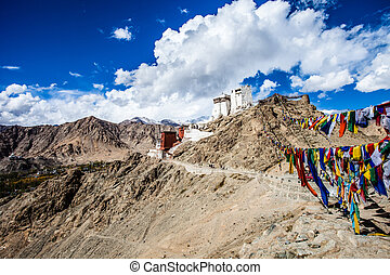 Namgyal Tsemo Gompa, buddhist monastery in Leh at sunset...