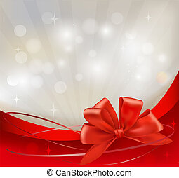 Background with red bow and ribbons. Vector illustration
