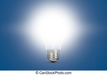 Glowing Light Bulb - Glowing light bulb on blue background.