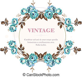 Blue Roses - Vintage style shabby roses vector frame