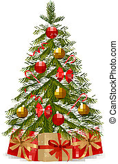 Christmas tree and gifts. Vector illustration