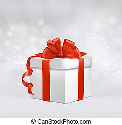 Christmas background with gift box with red bow Vector...