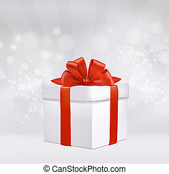 Christmas background with gift box with red bow. Vector illustration.
