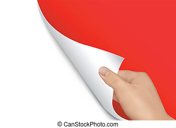 Blank sheet of paper with hand. Vector illustration.