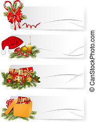 Set of winter christmas banners. Vector illustration