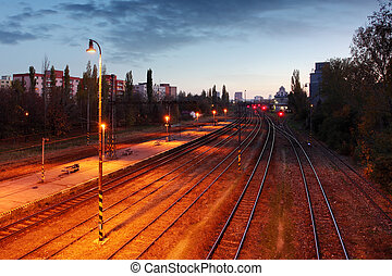 Train railroad at night