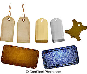Collection of leather and jeans labels and tags Vector...