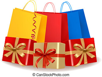 Collection of holiday shopping bags and gift boxes with sale...