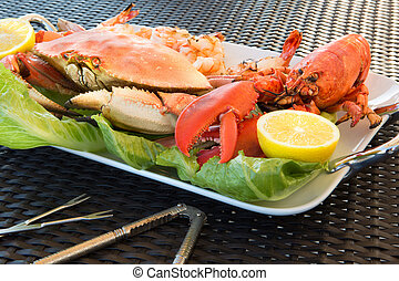 Red Lobster, Crab and Jumbo Shrimps on a big Plate - Red...
