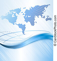 Business abstract background with world map Vector...