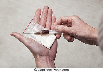jeringuilla, bolsa, cocaína