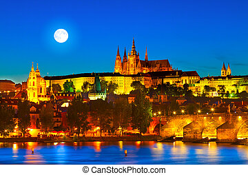 Prague, Czech Republic - Prague Castle in the evening....