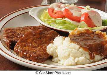 Meatloaf dinner - Closeup of a meatloaf dinner with mashed...