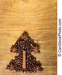 Christmas tree stylistic symbol of the coffee bean, cinnamon...