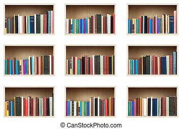 Books on shelves, isolated set.