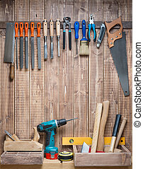 Woodwork - Carpentry tools hanging on the wall