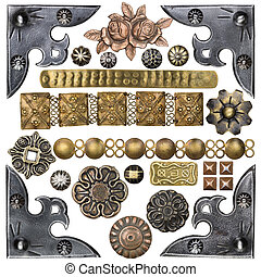 Metal frame - Vintage metal corners, nails, buttons and...
