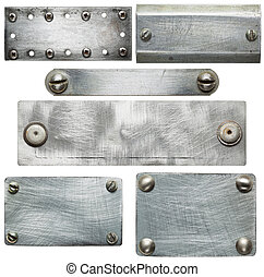 Metal plates with screws and rivets Isolated textures