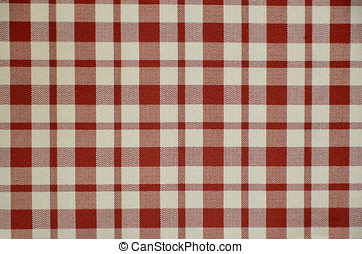 Squared fabric in red and white. Cloth and textile...