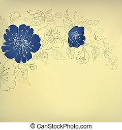blu, vendemmia, fiori,  sakura, fondo
