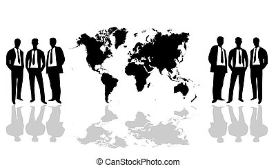 World Map with group people - Black and White World Map...