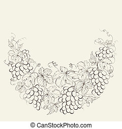 Vintage frame of grape vines - Hand drawn frame of grape...