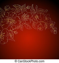 Gold sakura flowers on a red background.  illustration.