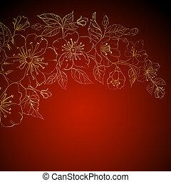 fiori, fondo,  sakura, oro, rosso
