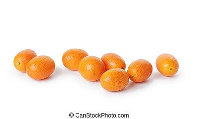 ripe kumquat fruits, isolated on white background